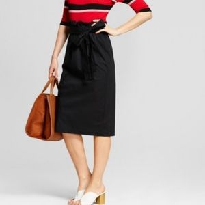 Who What Wear Paperbag Waist Skirt Black Medium